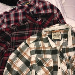 3 flannel shirts